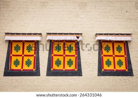 Windows  Tibetan style  of Monastery - stock photo