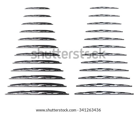 Windscreen wipers on a white background, wiper blade - stock photo