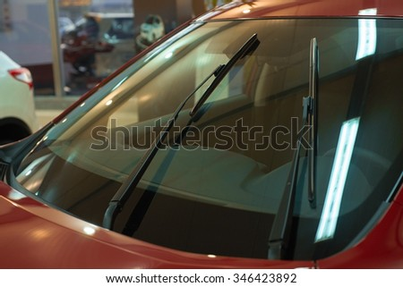 Windshield wipers red car