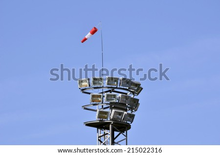 Windsock located on lighting tower for see where the wind comes
