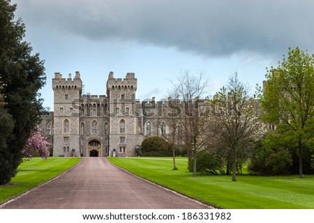 WINDSOR, BERKSHIRE/UK - APRIL 27 : Scenic view of Windsor Castle in Windsor on April 27, 2005. - stock photo