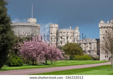 WINDSOR, BERKSHIRE/UK - APRIL 27 : Scenic view of Windsor Castle in Windsor on April 27, 2005. - stock photo