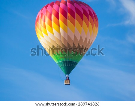 WINDSOR, CA/USA - June 20, 2015: 25th Annual Sonoma County Hot Air Balloon Classic is a yearly event where you can experience balloons up close, watch them launch, and even take tethered rides. - stock photo