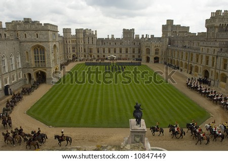 Windsor 26th March 2008 French State visit , Presidet of French  Republique , Mr and Mrs Sarkozy  met by the Queen and Duke of  Edinburgh at Windsor Castle - stock photo
