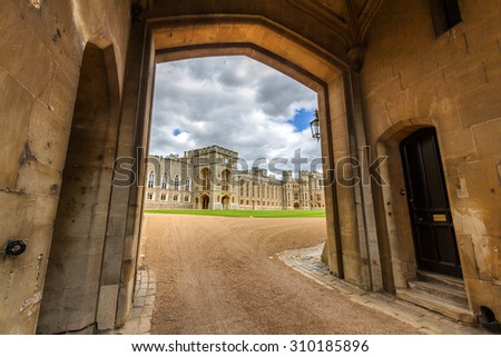 WINDSOR, UK - JULY 20, 2015: View of the state apartments from George IV gateway of Windsor Castle. It is a royal residence at Windsor in the English county of Berkshire.