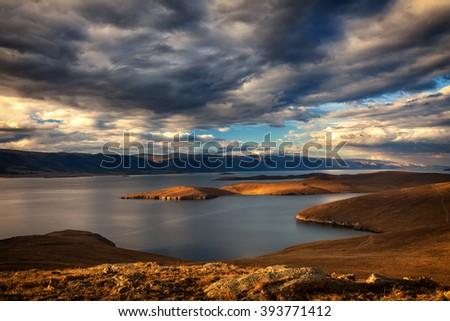 Windstorm above Baikal lake. Maloe more, Russia - stock photo