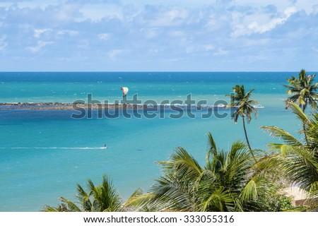 Windsurf at sea of Natal - RN - Brazil - stock photo