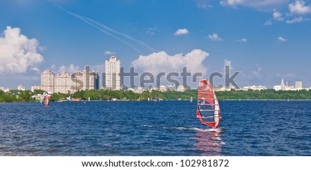 windsurfing in the city on Moscow river, Russia - stock photo