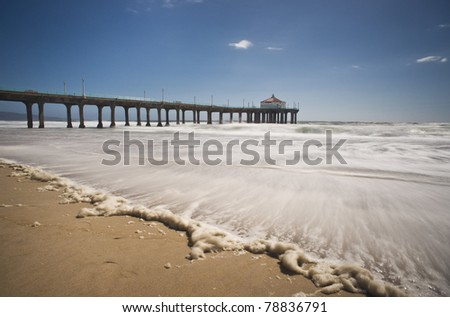 Windy Afternoon Manhattan Beach Pier - stock photo