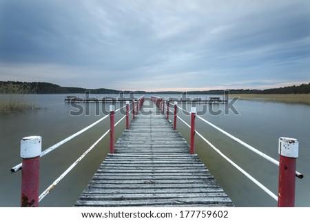Windy lake in north Poland.Long exposure/Windy lake - stock photo