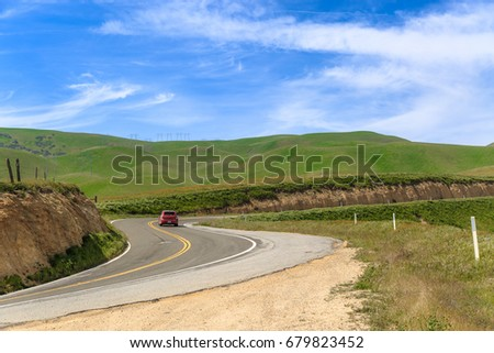 Windy road in rural California