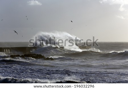 Windy waves over pier of Douro river harbor at sunset before storm - stock photo