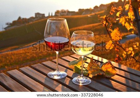Wine against vineyards in Lavaux, Switzerland - stock photo