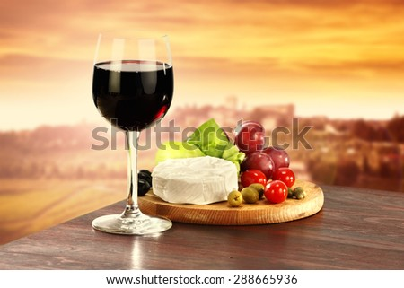 wine and food  - stock photo