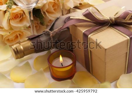 Wine and gift - stock photo