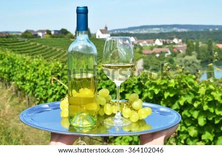 Wine and grapes  against Rhine rive and vineyards in Rheinau, Switzerland - stock photo
