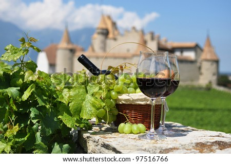 Wine and grapes. Chateau de Aigle, Switzerkand - stock photo