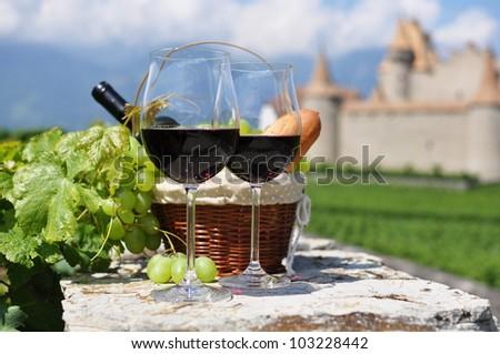 Wine and grapes. Chateau de Aigle, Switzerland - stock photo
