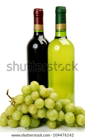 Wine and ripe fruit on a white background