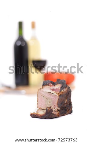 wine and smoked meat - stock photo