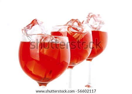 wine and transparent crystal ice on white - stock photo