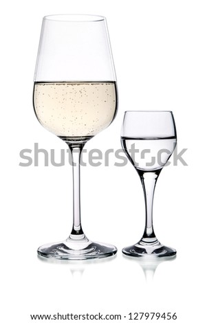 wine and vodka glass isolated
