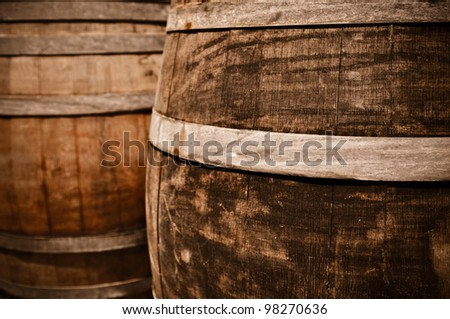 Wine Barrel in Cellar - stock photo