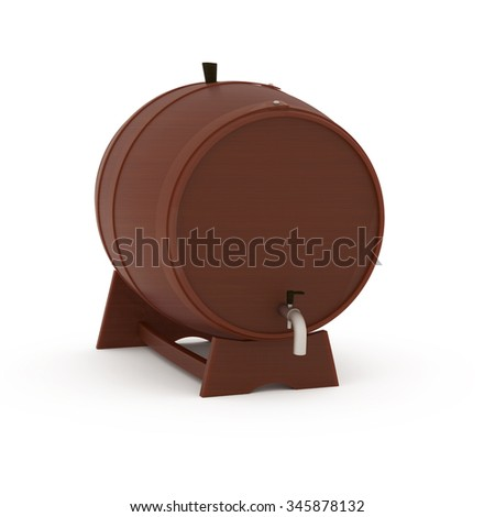 Wine Barrel isolated on white - 3d illustration