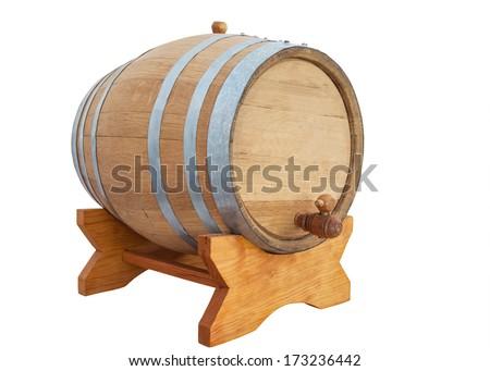 wine barrel on white background - stock photo