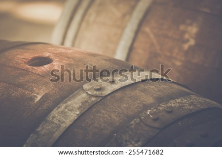 Wine Barrel outside in Retro Instagram Style - stock photo