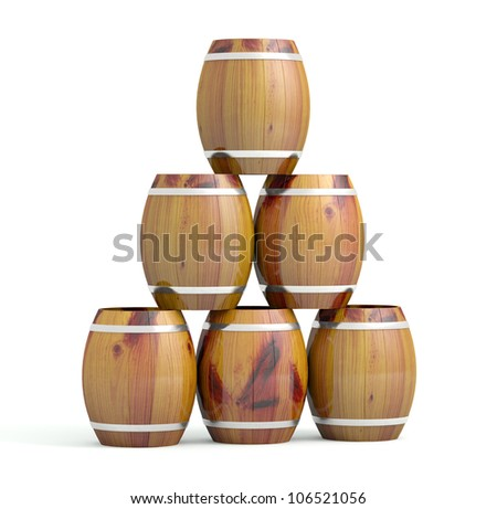 Wine barrels. 3D model islated on white background