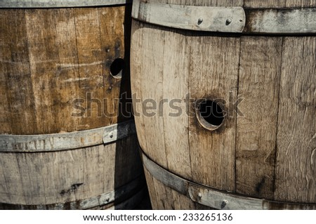 Wine Barrels in a Cellar - stock photo