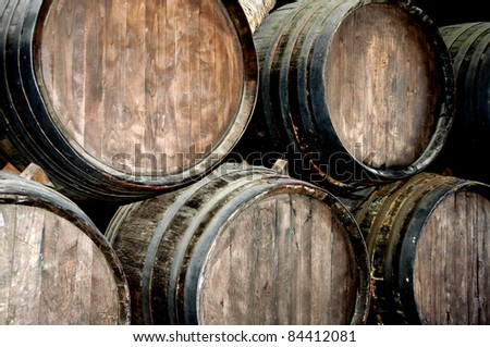 Wine barrels in a wine cellar in lanzarote - stock photo