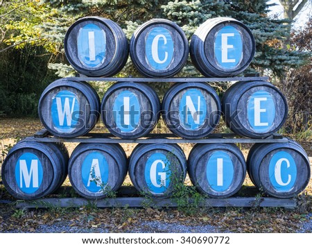 Wine Barrels in an Ice Wine Winery - stock photo