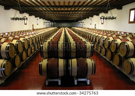 Wine Barrels In Chateau - stock photo
