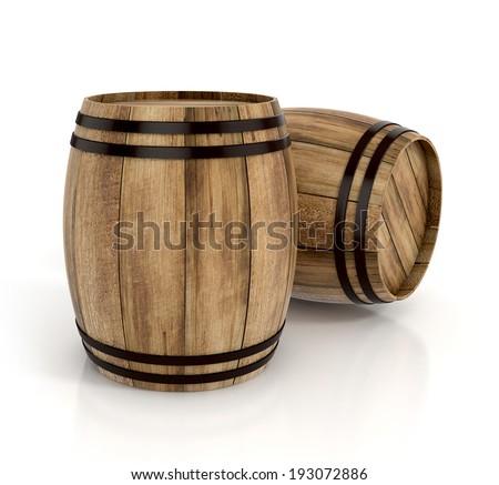 wine barrels on white background. 3d illustration - stock photo