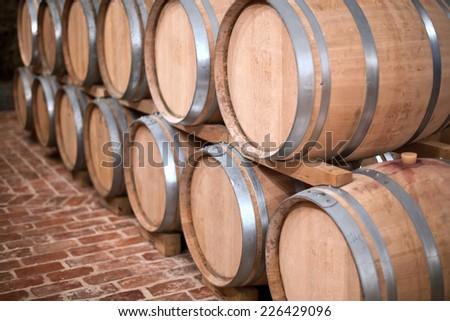 stacked oak barrels. Stacked Oak Wine Barrels. Barrels Top. In The Old Cellar Of O