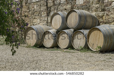 Wine barrels stacked up