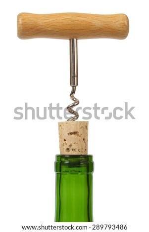Wine bottle and corkscrew isolated on white background - stock photo