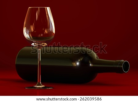 Wine bottle and empty glass - stock photo