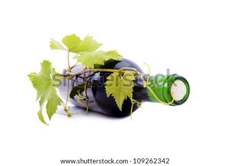 Wine bottle and grape leaves. - stock photo