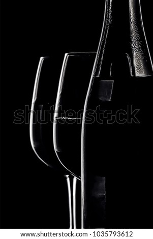 Wine bottle and two glasses stylized digital artwork in black and white