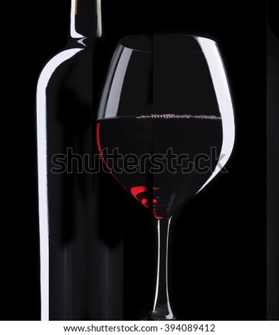 Wine Bottle and wine glass on a black background - stock photo