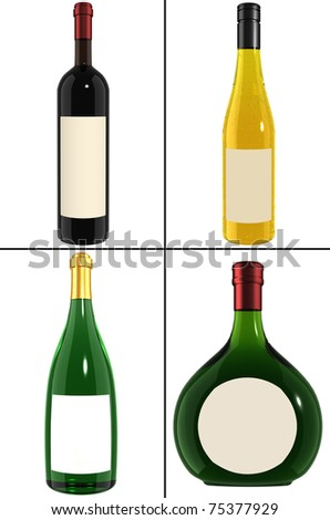 Wine Bottle - collection - stock photo