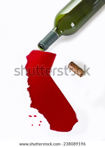 Wine Bottle fall, the content, so a map of california - stock photo