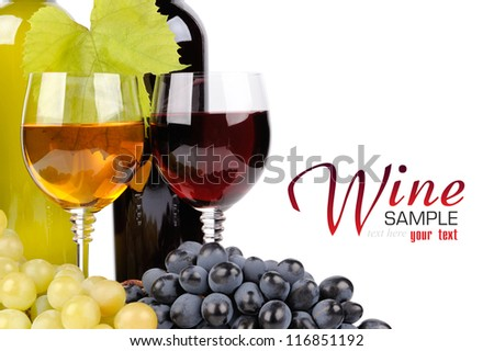 Wine bottle, glass and grapes isolated on white background - stock photo