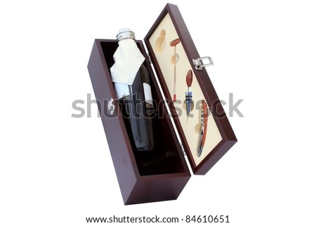 wine bottle in the wooden box - stock photo