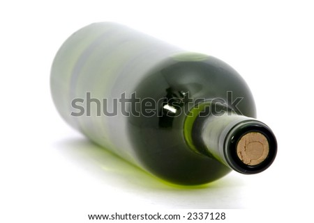 wine Bottle isolated over white background. shallow depth of focus