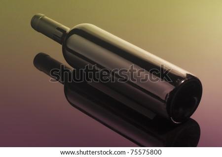 Wine bottle on it's side - stock photo