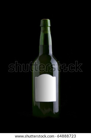 wine bottle over black background